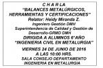 BALANCES METALÚRGICOS, HERRAMIENTAS Y CERTIFICACIONES